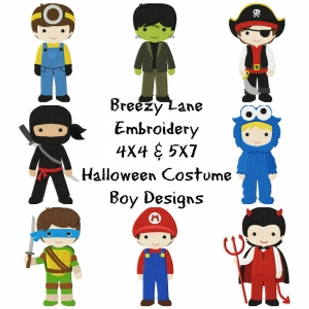 Costume Boy Machine Embroidery Design Set 4X4 & 5X7