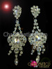 Brilliant Rhinestone Surrounded Iridescent Pear-Shaped Crystal Stud Fancy Chandelier Earrings