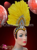 Amber And Clear Crystal Decorated Fan-Shaped Yellow Feather Cap-Style Headdress