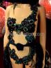Black Sequined Applique Leotard with Flame Tasseled Tail Skirt Set