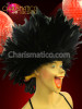 Cabaret Showgirl'S Or Drag Queen'S Fluffy Iridescent Black Feather Cap