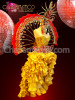 CHARISMATICO Burlesque Gold Corset Dress With Matching Red-Accented Backpack And Headdress