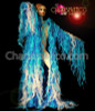 CHARISMATICO Blue And White Organza Flame Ruffled Drag Queen Showtime Coat