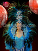 CHARISMATICO Blue Drag Queen Cabaret Gown, Headdress, Collar And Boa Costume