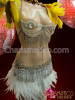 CHARISMATICO Crystal Cage Bra And Matching Belt With White Feather Skirt