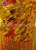 CHARISMATICO Black And Gold Striped Sequin Gold Fringe Batchata Dance Dress
