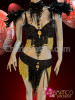 CHARISMATICO Black and Yellow beaded bra and belt with feather collar