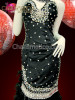 CHARISMATICO Black velvet pageant, prom, Diva's gown with crystals and feathers