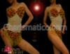 Bikini Illusion red and gold appliqué leotard with beaded fringe