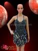 Classic Sequin halter style Latin Dance Dress in metallic black