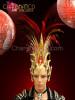 Diva Drag Queen Golden glitter Mohawk inspired Red feather headdress