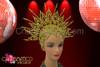 CHARISMATICO Beaded Star-Burst Golden Open Work Cap Headdress With Amber Crystals