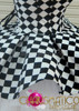 Black and White Checker patterned Diva Showgirl's Gothic Dollie Dress