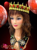 Diva Showgirl Metallic Gold beaded crown with ruby crystal embellishments