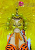 CHARISMATICO Amber studded Golden sequin mask headdress with yellow layered feathers