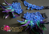 CHARISMATICO Blue Sequin Appliquã© Accented Purple And Green Feather Bra And Skirt Set