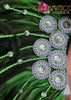 CHARISMATICO Classic fancy green showgirl diva's cabaret headdress with colored crystals