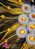 CHARISMATICO Classic fancy yellow showgirl diva's cabaret collar with amber crystals