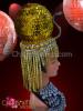 CHARISMATICO Circular metallic golden sequined and beaded Egyptian pharaoh diva's headdress
