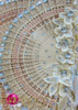 CHARISMATICO Chinese Wooden Fan Headdress With Peach Appliquã© And Crystal Accents