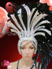 CHARISMATICO Asymmetrical Drag Queen Iridescent Silver Accented Black Feather Showgirl Headdress