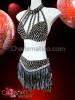 CHARISMATICO Black Vinyl Silver Spiky Corset Bra And Belt Skirt With Beaded Fringe