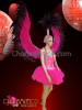 CHARISMATICO Crystal Accented Black and Fuchsia Feather Cabaret Costume Wing Set