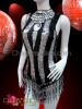 CHARISMATICO Black and Silver Sequin Striped Keyhole Dancer's Beaded Fringe Leotard