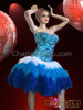 CHARISMATICO Crystal Accented Blue Sequin Corset And Matching Tri-Color Feather Skirt
