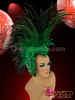 CHARISMATICO Appliquã© Accented Cap-Style Diva'S Two Toned Green Feather Mohawk Headdress