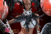 CHARISMATICO Crystal Studded Black Feather Silver Brazilian Rio Carnival Costume Set