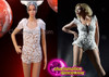 'Run The World' White Pearl Embellished Beyonce Inspired Showgirl'S Dance Leotard