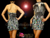 CHARISMATICO Diamond Patterned Silver Sequin Diva Keyhole Style Latin Dance Dress