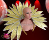CHARISMATICO Crystal Studded Gold Glitter Drag Queen's Petal Style Cabaret Backpack
