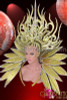 CHARISMATICO Diva Drag Queen'S Feather Free Gold Glitter Backpack And Headdress