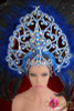 CHARISMATICO Crystal Accented Heart Icon Royal Blue Glitter Cabaret Feathered Headdress