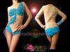 CHARISMATICO Blue Beaded Appliqué On Nude Illusion Long Sleeve Burlesque Leotard