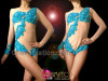 CHARISMATICO Blue Beaded Appliquã© On Nude Illusion Long Sleeve Burlesque Leotard