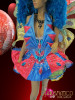 CHARISMATICO Butterfly Fairy Cabaret Costume Set In Blue, Gold, and Fuchsia