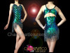 CHARISMATICO Black Crystal Accented Beaded Fringe Peacock Shimmer Green Showgirl's Leotard