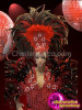 CHARISMATICO Classic Beaded Red And Black Feather Showgirl'S Cabaret Costume Set