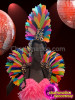 CHARISMATICO Bold Neon Rainbow Feathered Gown, Headdress And Collar Costume Set