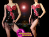 CHARISMATICO Black Sequin Beaded Fringe Leotard With Beaded Red Appliquã© Accents