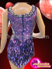 CHARISMATICO Classic Crystal Edged Metallic Glitter Purple Sequin Diva's Dance Dress