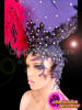 CHARISMATICO Black Lace Studded Crystal Purple Pirate Headdress With Ostrich Plume