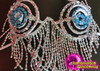 CHARISMATICO Blue Crystal Accented Silver Beaded Fringe Cage Bra With Matching Thong