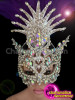 CHARISMATICO Cabaret Showgirl's Silver Iridescent Crystal Covered Purple Feather Venetian Mask