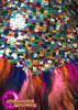 CHARISMATICO Dark Toned Halter Style Sequin Rainbow Feathered Latin Dance Dress