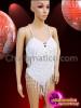 CHARISMATICO Classic Styled White Beaded Fringe Showgirl'S Costume Base Dance Leotard