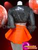 CHARISMATICO Black Sequin Bolero Jacket And Matching Shorts With Orange Skirt